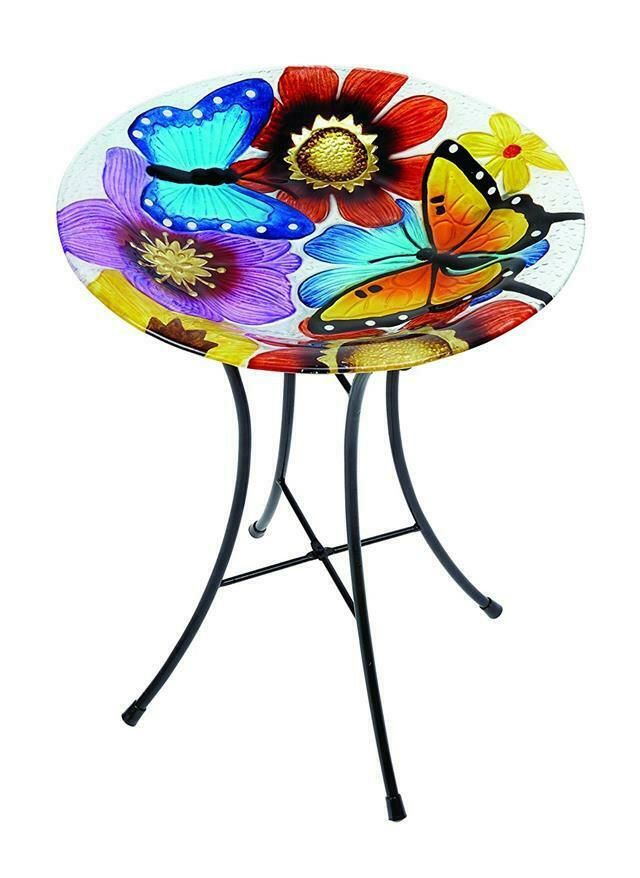 Gardman Decor Bird Bath Butterfly Glass Design