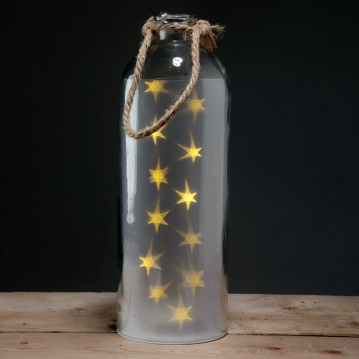 Decorative Large Glass Jar with White LED Star Lights and Rope