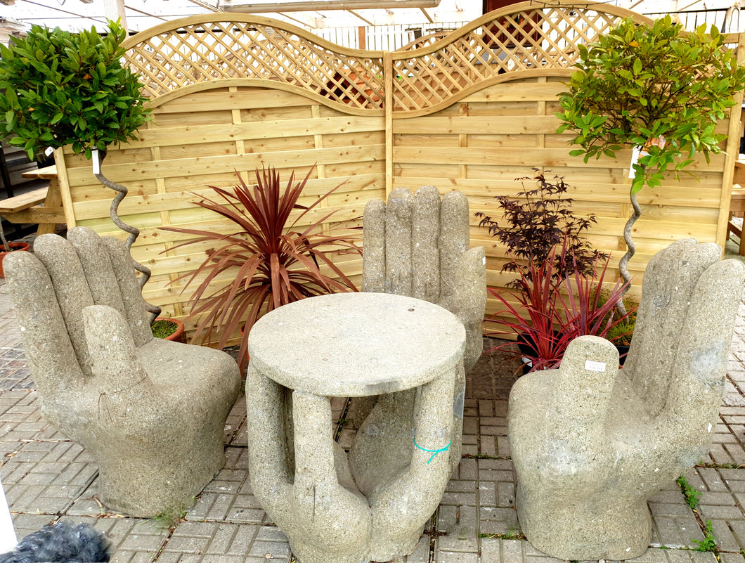 basanite hands table, hands chairs, stone, beauty