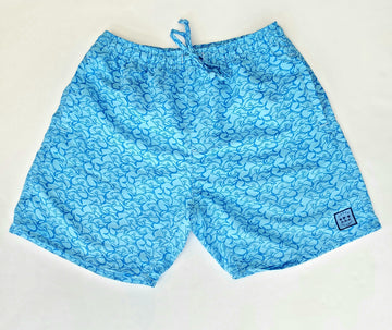 Padang Padang Swim Shorts in Sabah Blue Fish Frenzy