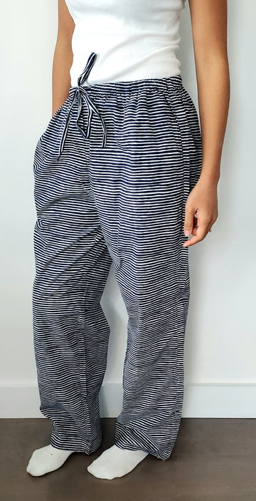 Ladies House Pants in Midnight Stripes