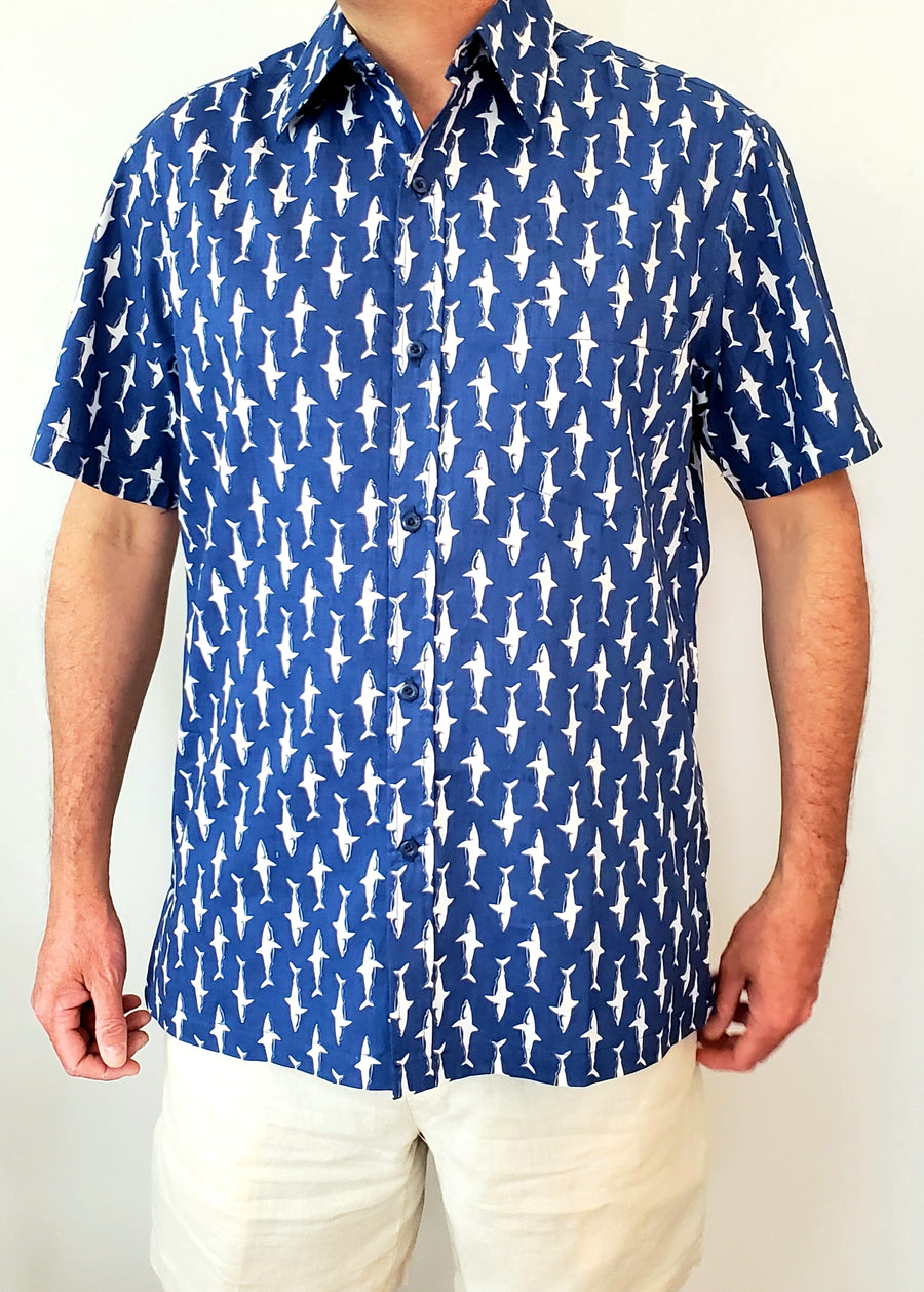 Shelter Island Camp Shirt in Midnight Lucky Sharks