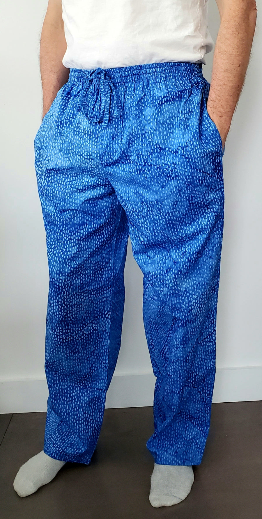 Mens House Pants in Royal Dots