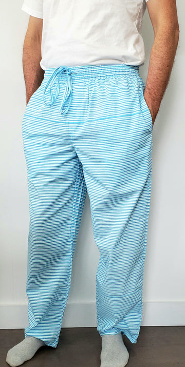 Mens House Pants in Teal Stripes