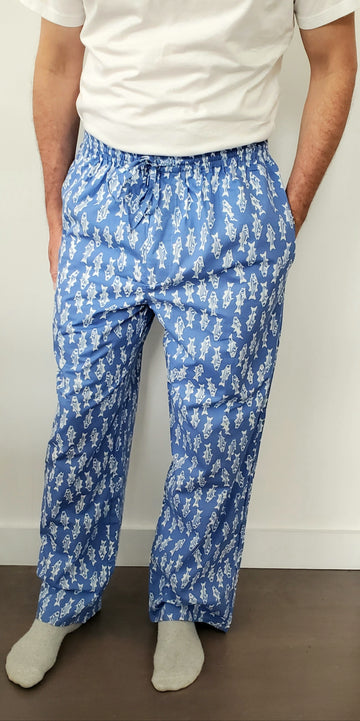 Mens House Pants in Striper Blues