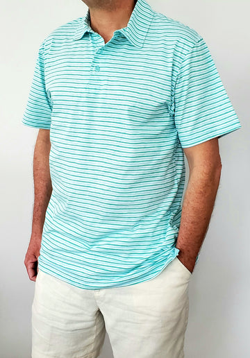 Montauk Polo in Green Stripes