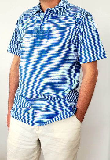Montauk Polo in Ocean Stripes