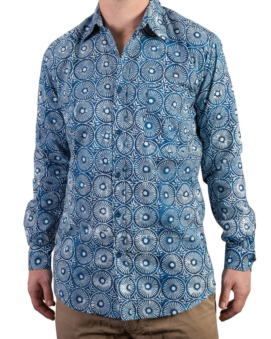 Ninigret Button Down in Indigo Sun Dial