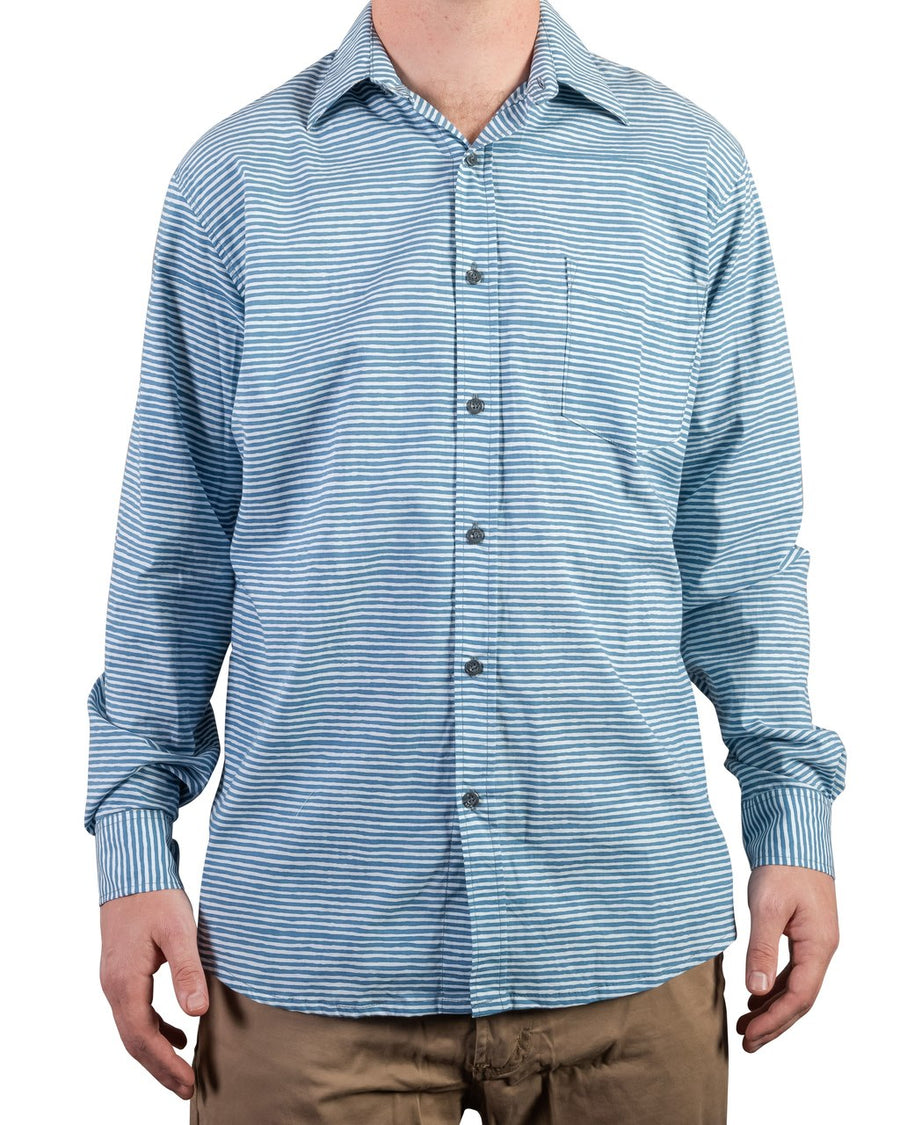 Ninigret Button Down in Navy Stripes