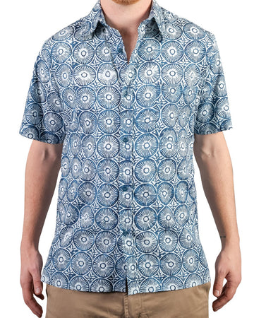 Shelter Island Camp Shirt in Indigo Sun Dial
