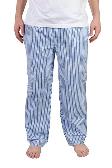 Mens House Pants in Vertical Blue Stripes