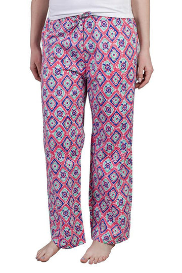 Ladies House Pants in Southern Squares Rasberry Ice