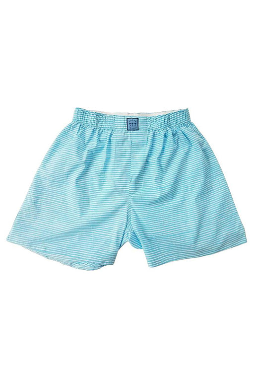 Block Island Boxer in Turquoise Stripes