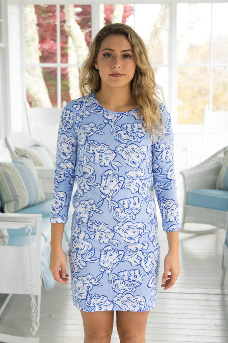 Cliff Walk Crewneck Dress in Elephant Stroll Blue Bell