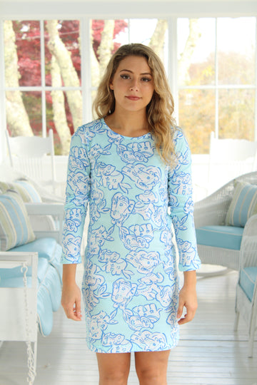 Cliff Walk Crewneck Dress in Elephant Stroll Teal