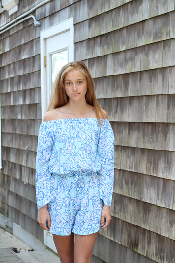 Romper in Elephant Stroll in Teal