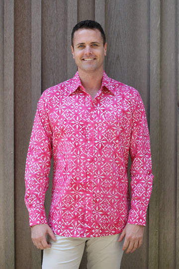 Ninigret Button Down in Fandango Pink