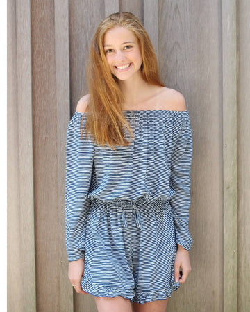 Romper in Midnight Stripes
