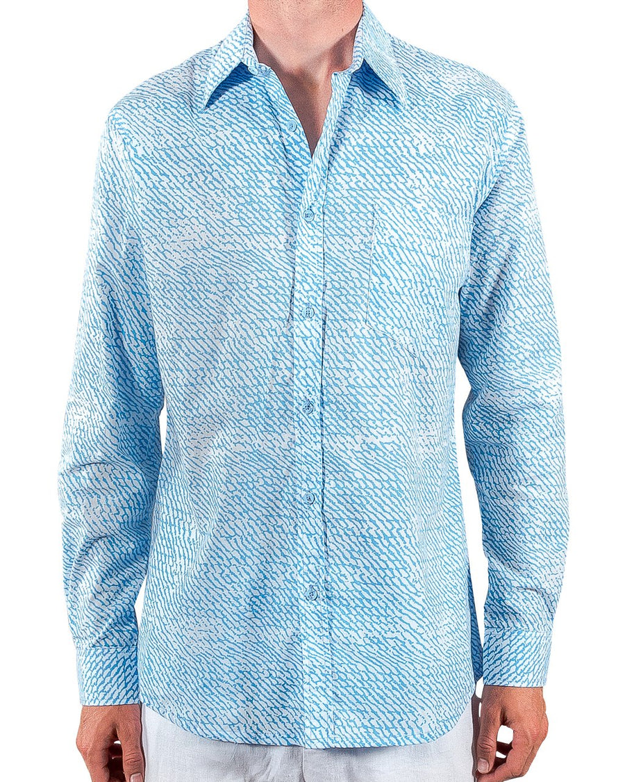Ninigret Button Down in Sky Blue Wave