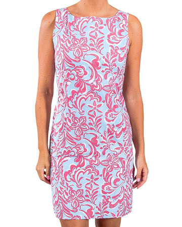 Sanibel Shift Dress in Island Fiesta Rasberry Ice
