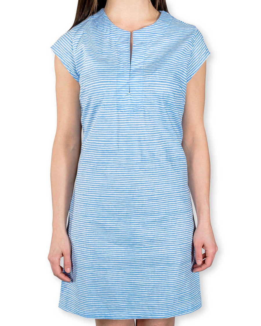 Julie Dress in Muted Blue Painted Stripes