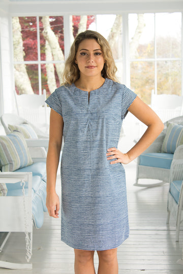 Julie Dress in Midnight stripes