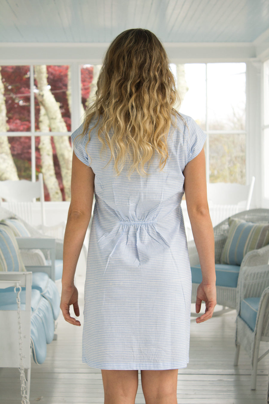 Julie Dress in Serenity Stripes