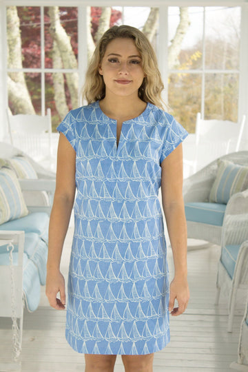 Julie Dress in Starboard Tack in Scuba Blue