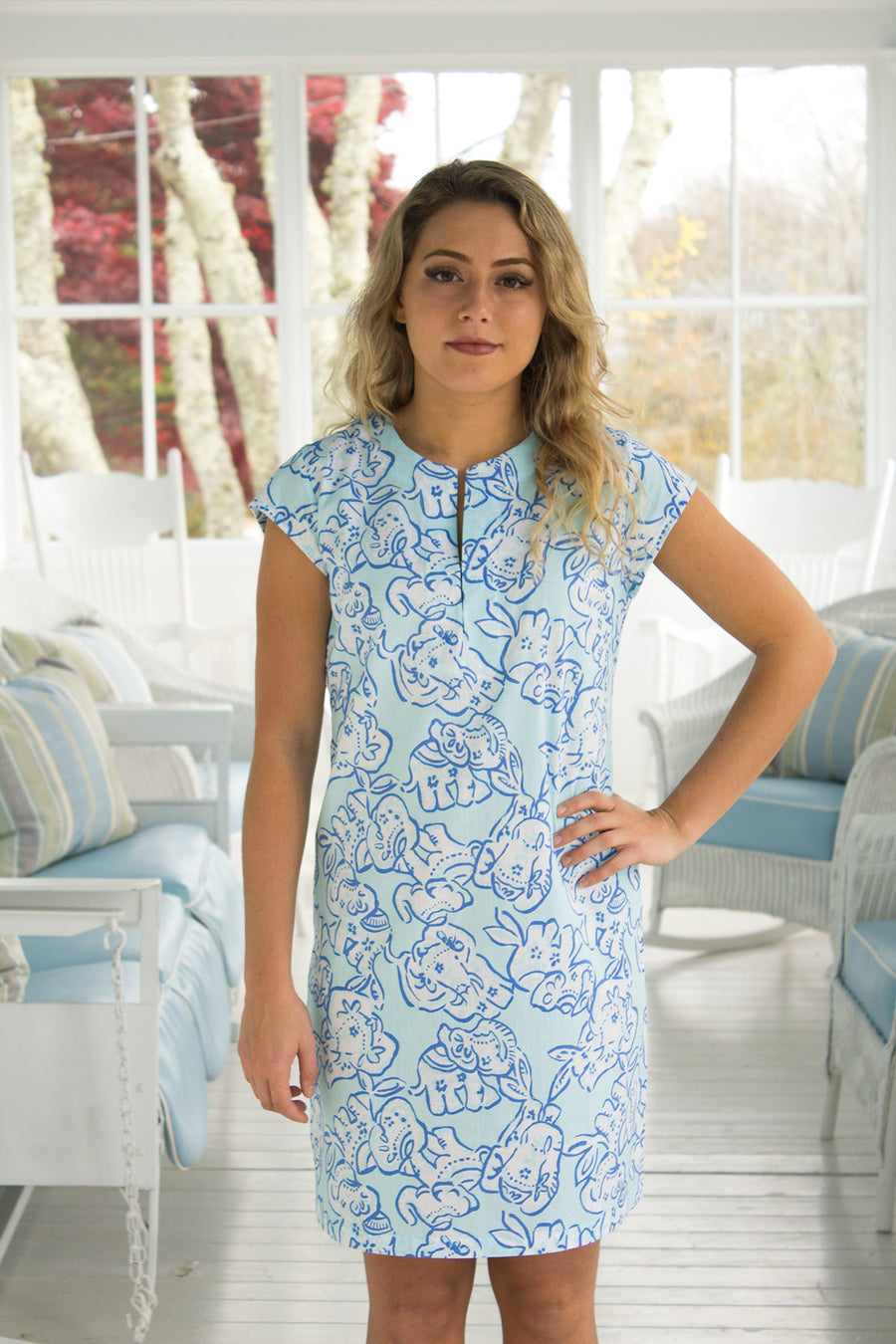 Julie Dress in Elephant Stroll in Teal
