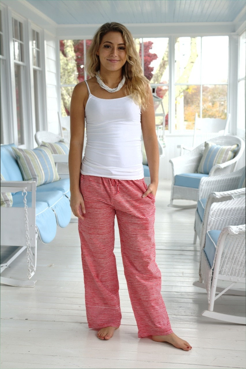 Ladies House Pants in Santa Stripes
