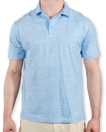 Montauk Polo in Muted Blue Painted Stripes