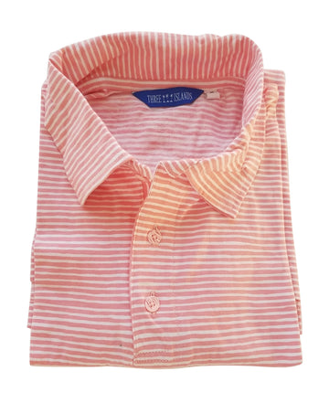 Montauk Polo in Coral Stripes