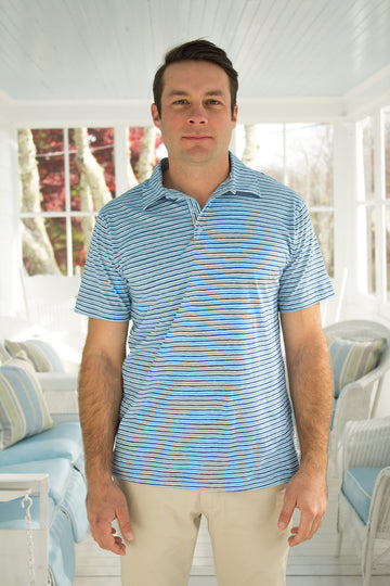 Montauk Polo in Teal Stripes