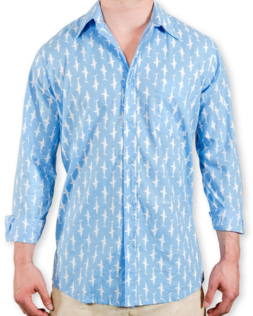 Ninigret Button Down in Pool Blue/ White Lucky Sharks