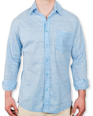 Ninigret Button Down in Muted Blue Painted Stripes