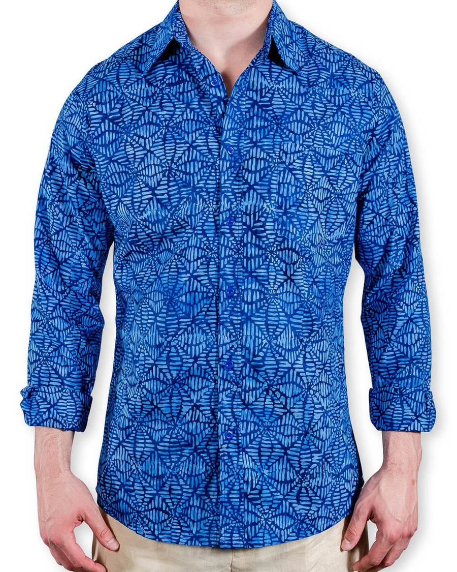 Ninigret Button Down in Deep Sea Blue Nets