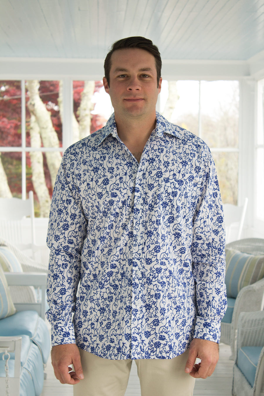 Ninigret Button Down in Cobalt Vines