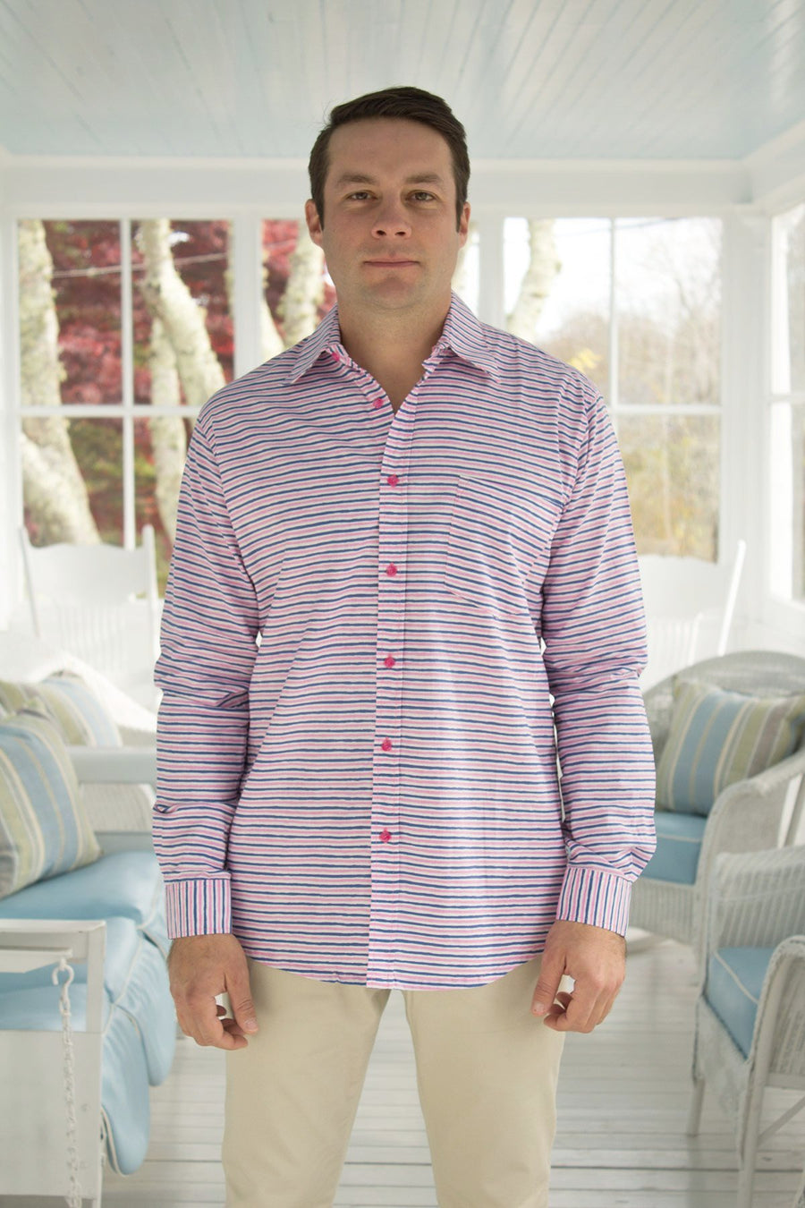 Ninigret Button Down in Peppermint Stripes