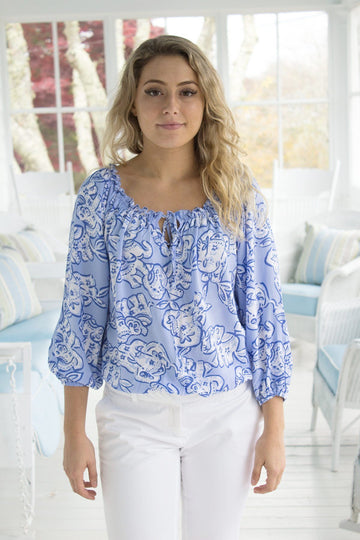 Polly Top in Elephant Strolll in Blue Bell