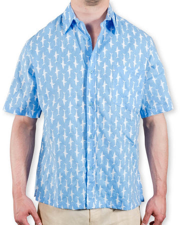 Shelter Island Camp Shirt in Pool Blue/ White Lucky Sharks