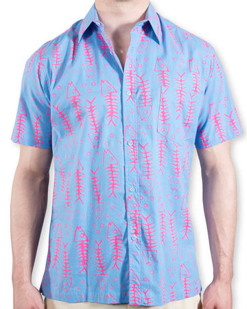 Shelter Island Camp Shirt in Fuscia/Azure Jumbo Bonefish