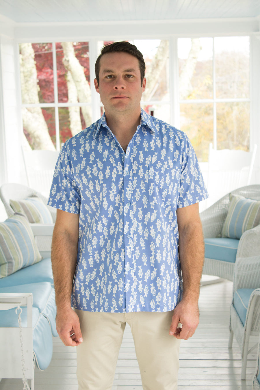 Shelter Island Camp Shirt in Striper Blues