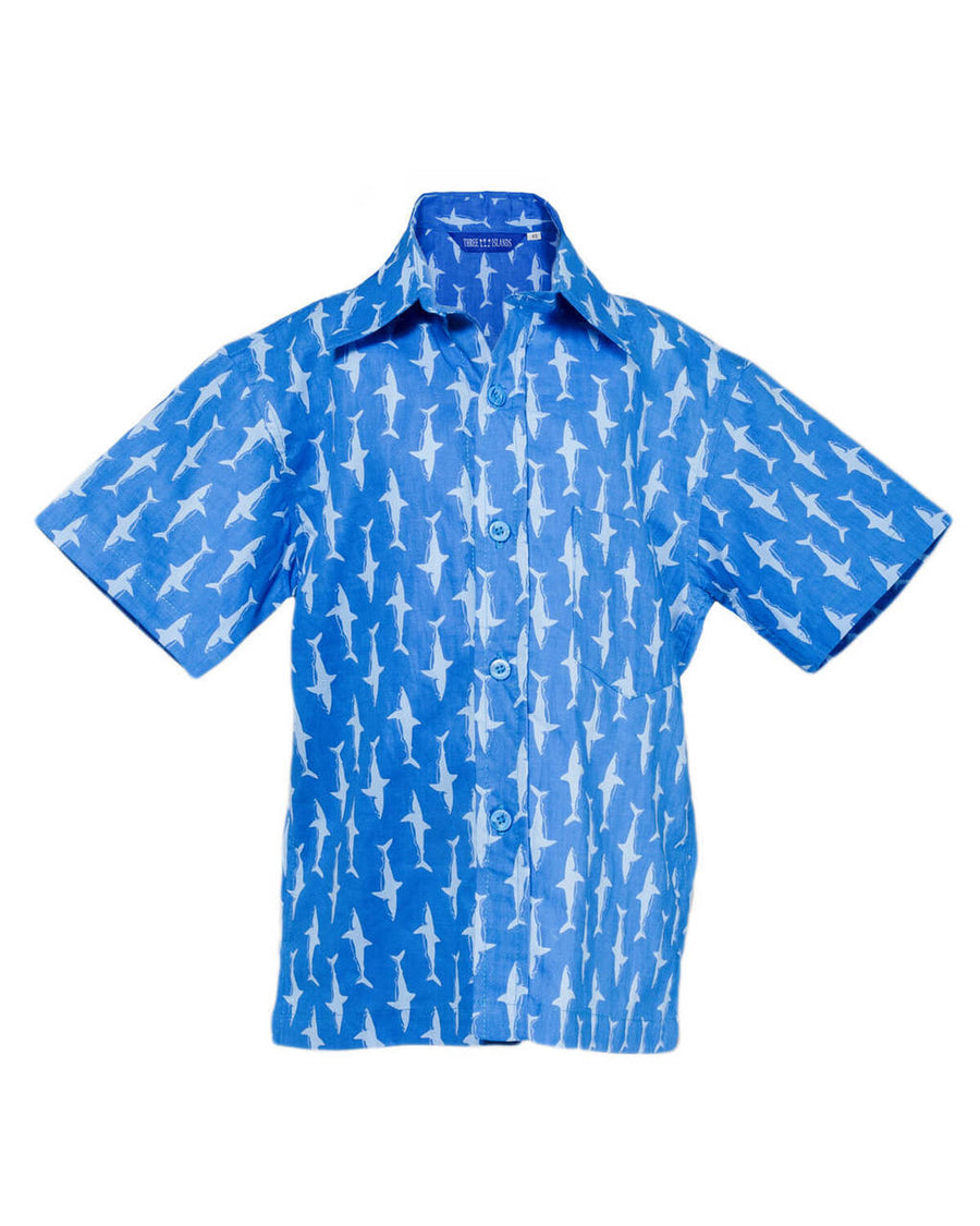Sandy Point Camp Shirt in Blue Tang/Bleached Aqua Lucky Sharks