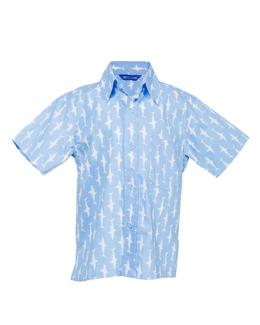Sandy Point Camp Shirt in Pool Blue/ White Lucky Sharks