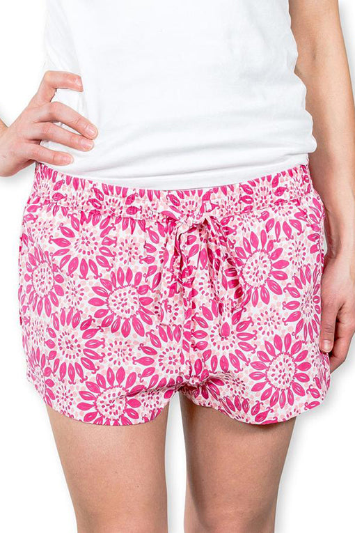 Sophie Sleep Shorts in Scarlet Shell Flower