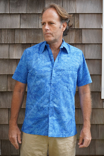 Shelter Island Camp Shirt in Royal Dots