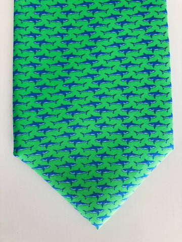 Bimini Silk Tie in Green and Blue Shark Attack
