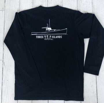 Three Islands Lobster Boat 100% Cotton Long Sleeve T- Shirt in Navy