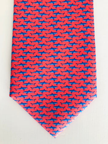 Bimini Silk Tie in Coral and Blue Shark Attack