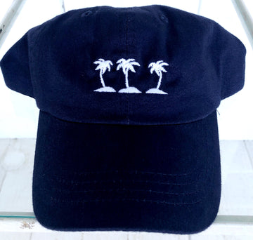 Three Islands 100% Cotton Baseball Hat in Navy